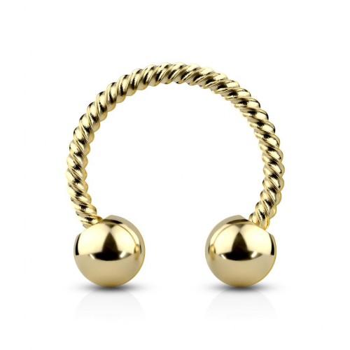 Zlatý piercing podkova vroubkovná 1,2 x 8 mm