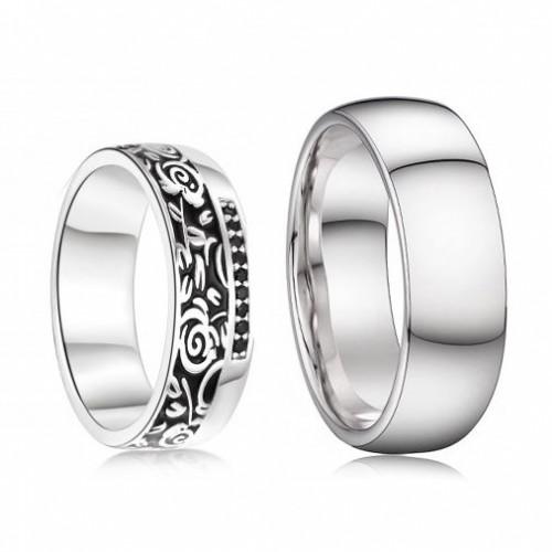 AN1043+AN1045 Stříbrné snubní prsteny, stříbro AG 925/1000 - pár