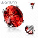 Náhradní kamínek k labretě TITAN, závit 1,2 mm, 3mm (červená, 3 mm) [4]